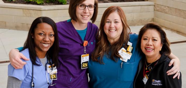 Nursing recruitment mailer with University of Missouri Health Care nursing staff members.